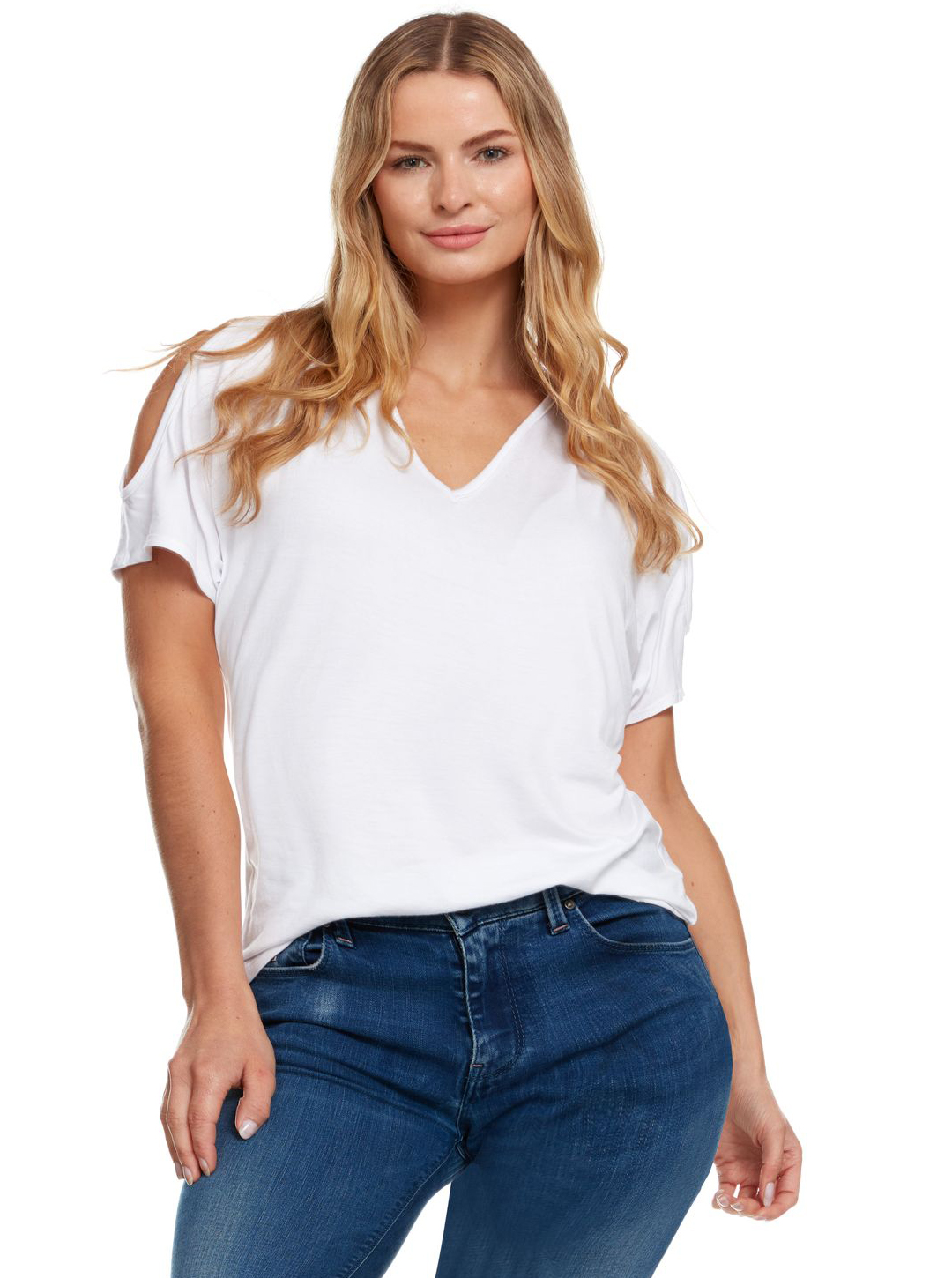 Cold Shoulder Basic V Neck Tee - Plus - White - Front