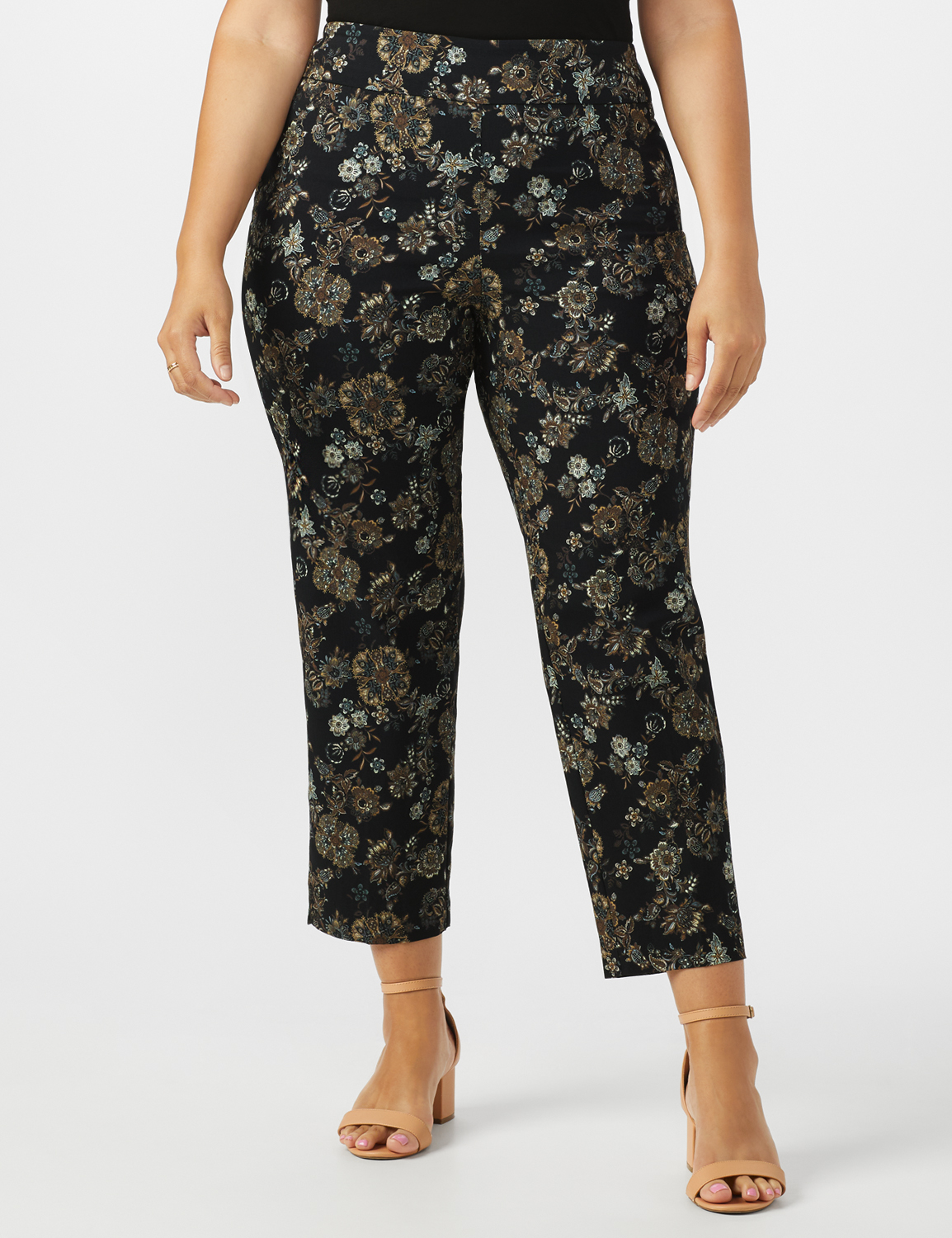 Plus  Roz & Ali Printed Superstretch Pull On Ankle Pant With Slits -Black/Grey - Front