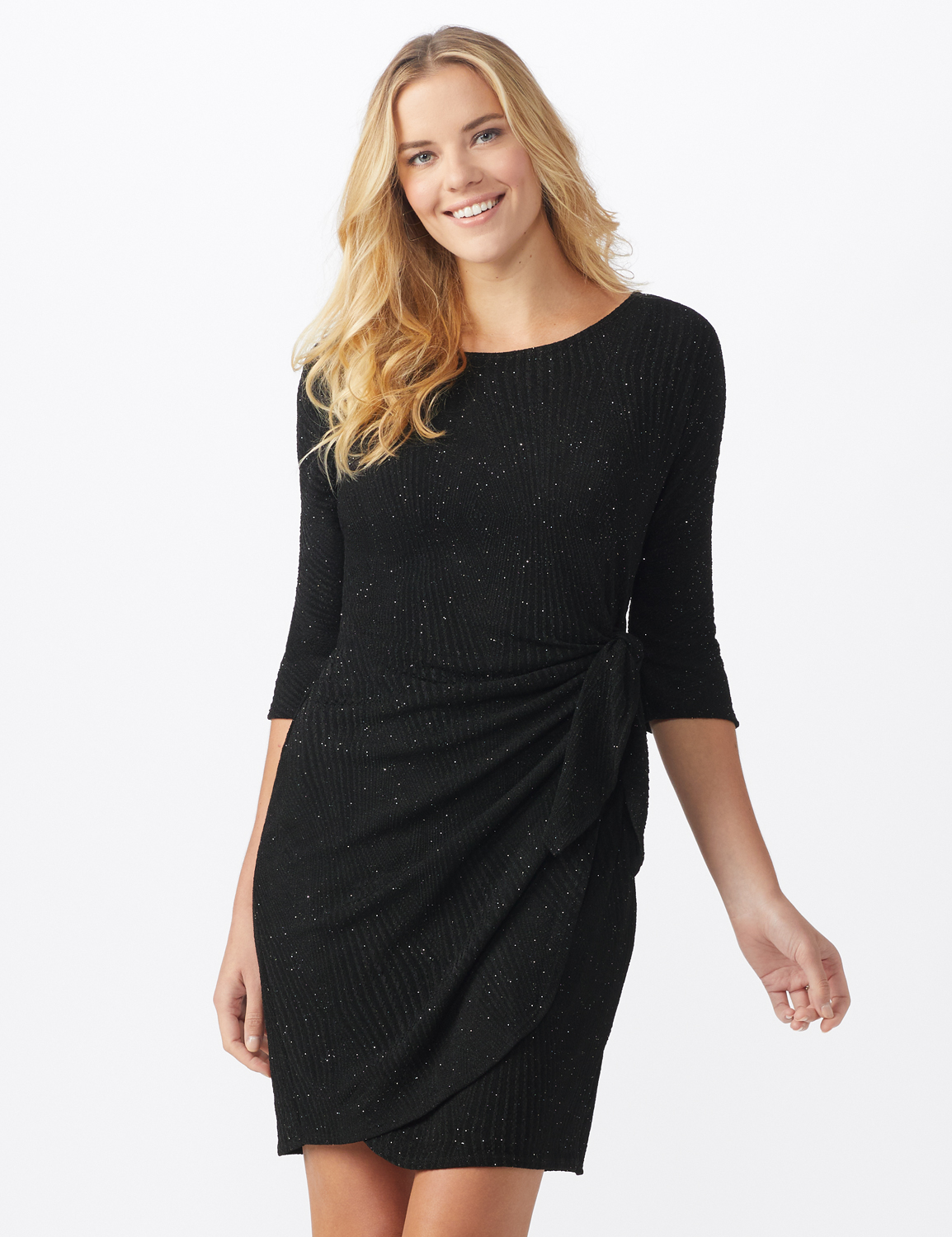 Glitter Knit  Wrap Dress - Misses -Black - Front