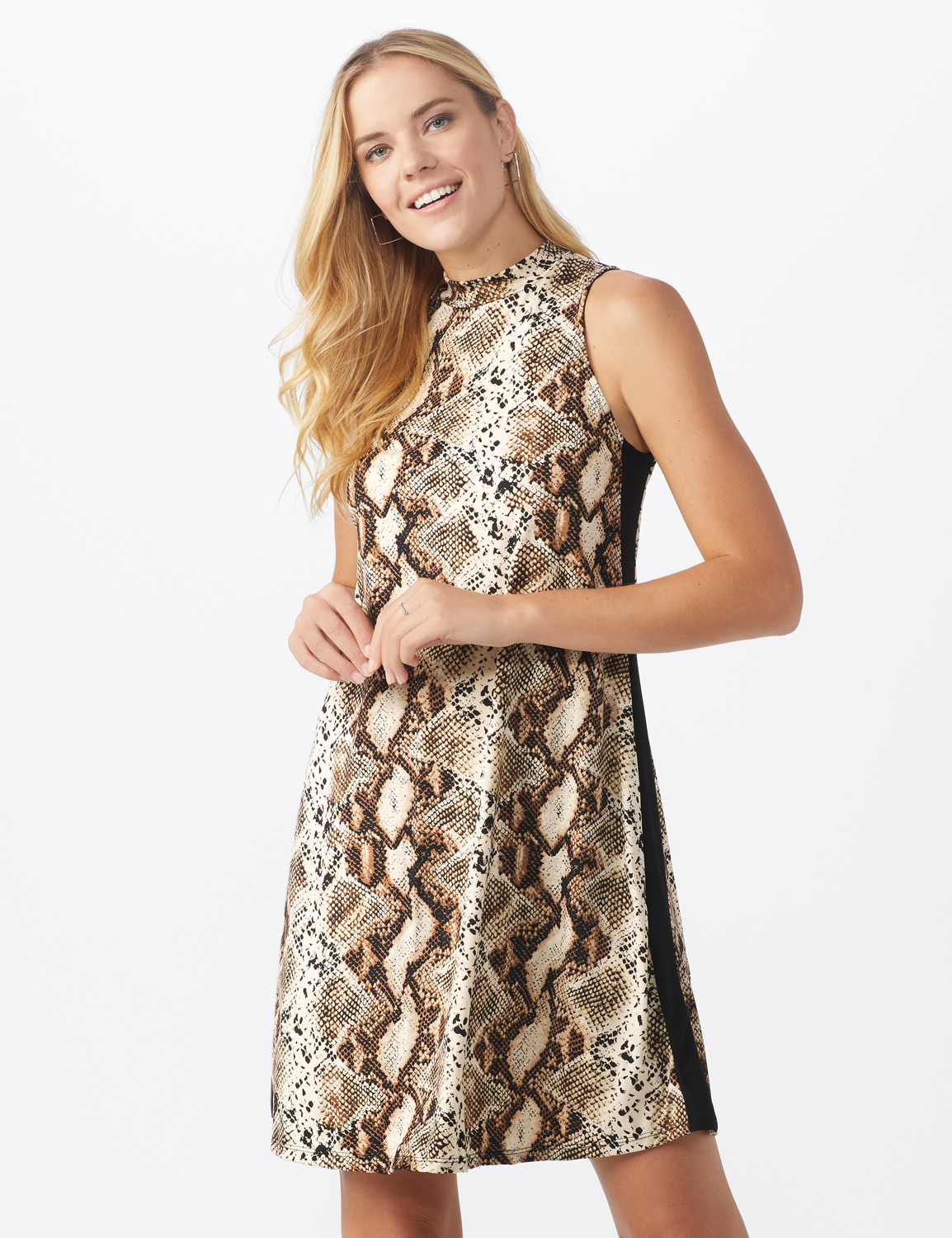 Animal A-Line Dress - Misses -Brown/Multi - Front