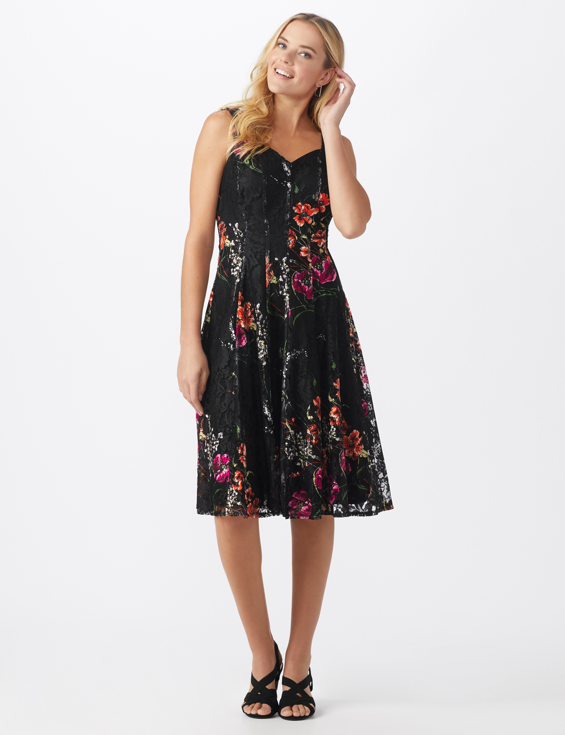 Floral Lace Fit and Flare Dress - Misses -Black/tangerine - Front