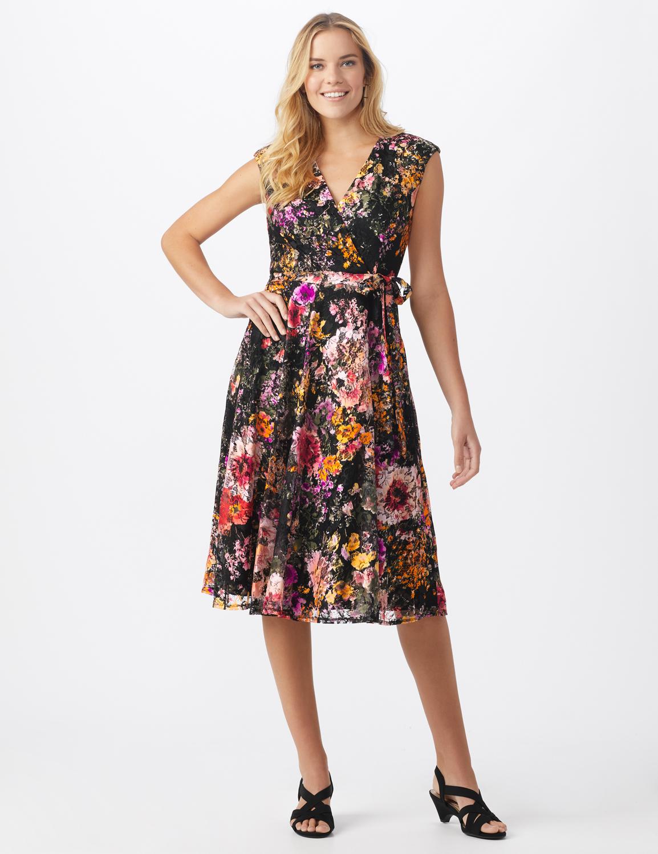 Wrap Rose Lace Dress - Misses -Black/coral - Front