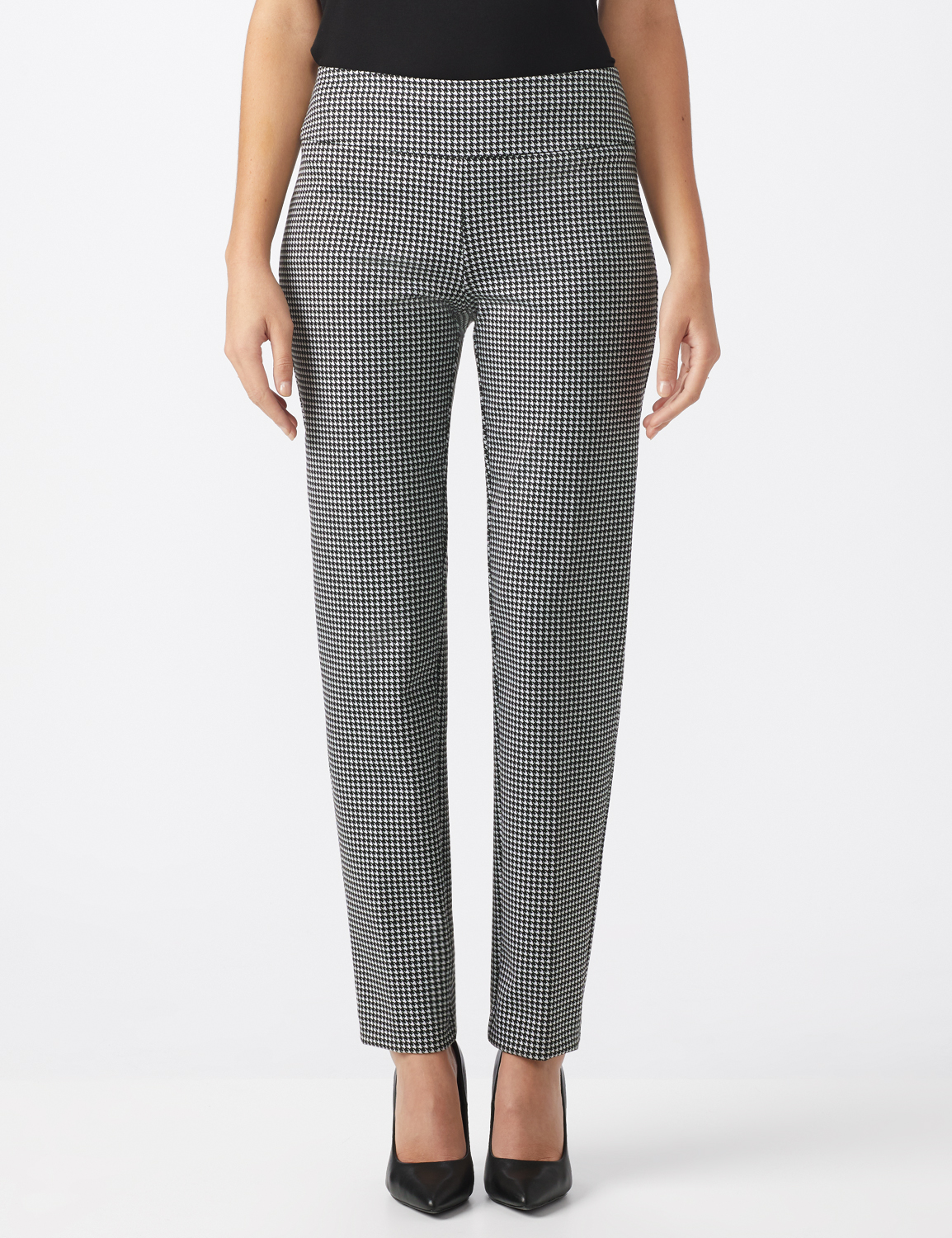 Pull On Houndstooth Print Compression Pant -Black/Sugar swizzle - Front