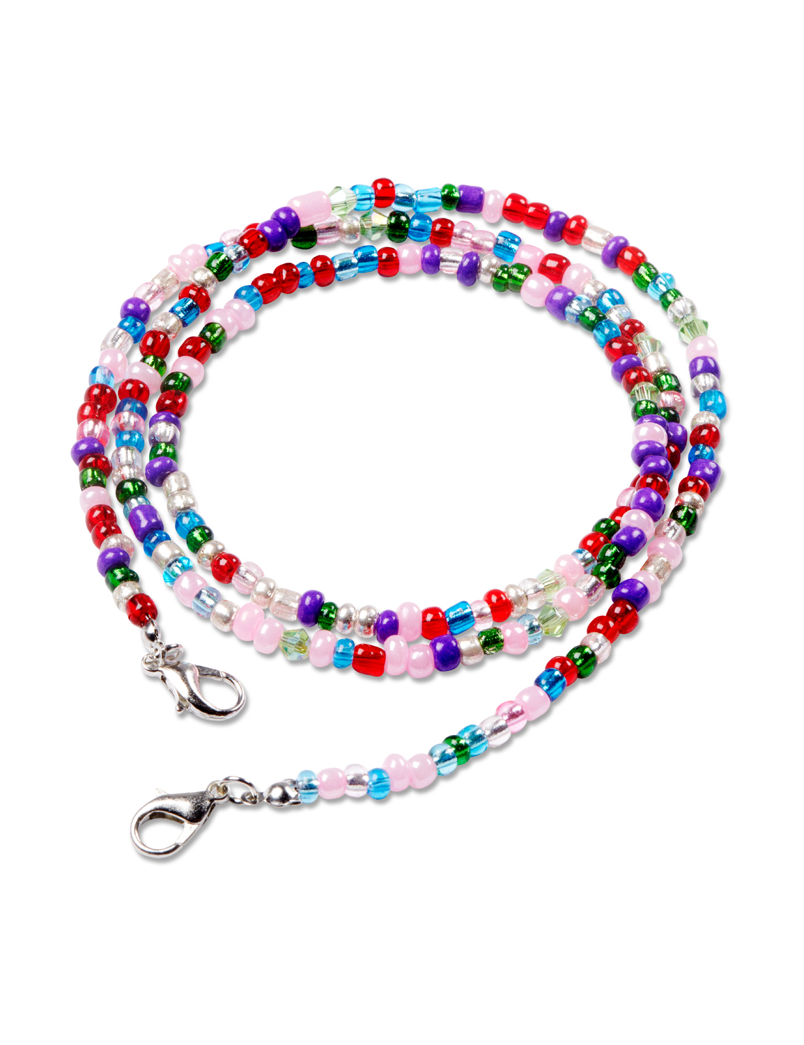 Multi Seedbead Face Mask Chain -Multi - Front