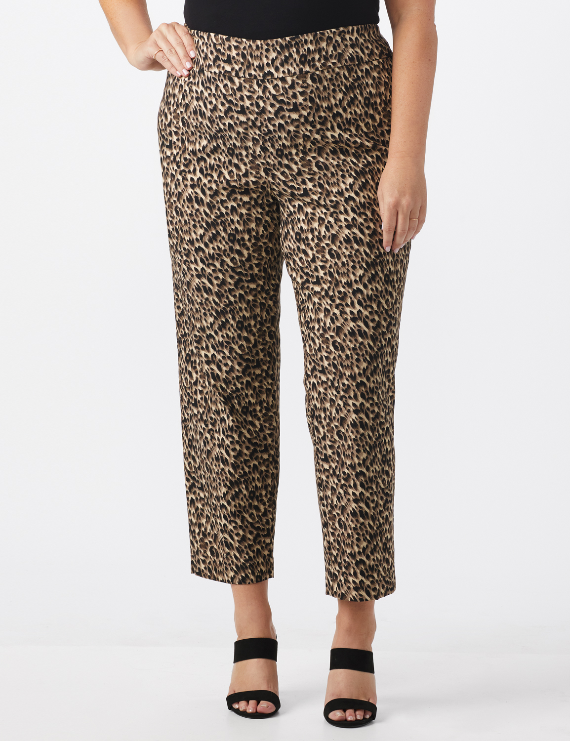 Plus Roz & Ali  Animal Print Superstretch Pull On Ankle Pants With Slits -Black/ Taupe - Front