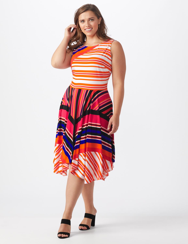 Orange Zest Striped Dress - Plus -Black/Rust - Front