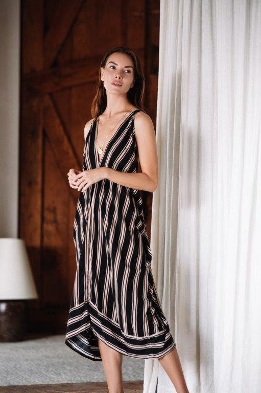 Striped Loose Dress -Black stripe - Front