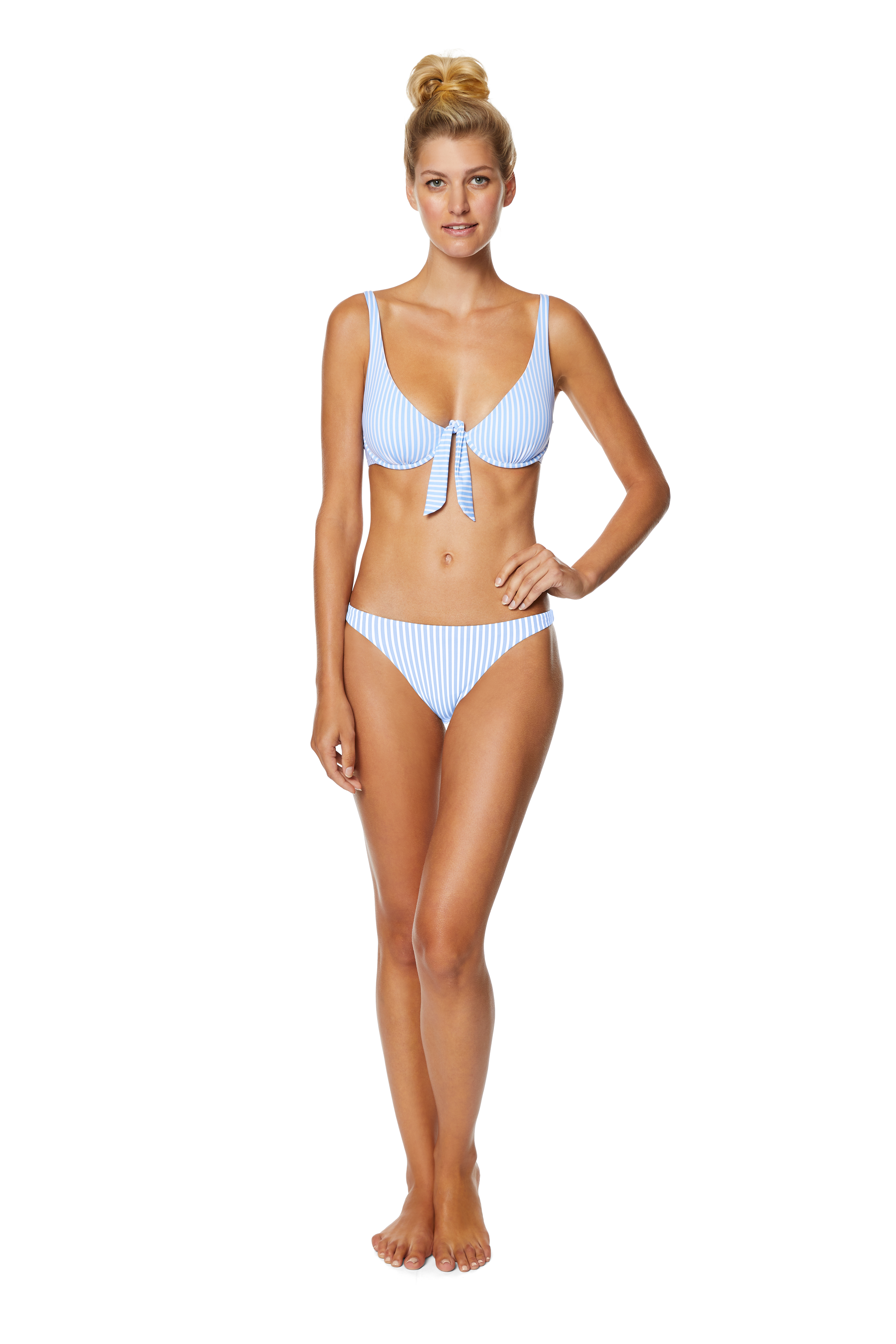 Avec Les Filles Malibu Colony Hipster Swimsuit Bottom -Chambray - Front