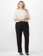 Roz & Ali Secret Agent Tummy Control Pants Cateye Rivet - Short Length - Plus - Black - Front