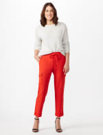 Drawstring Ankle Length Cargo Pants - Tomato - Front