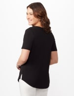 Three Button Crepe Tee Knit Top - Black - Back