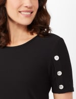 Three Button Crepe Tee Knit Top - Black - Detail