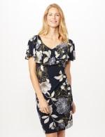Floral Ruffle Neck Dress - Navy/Mustard - Front