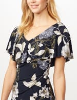 Floral Ruffle Neck Dress - Navy/Mustard - Detail