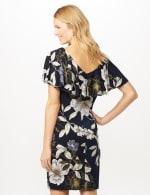 Floral Ruffle Neck Dress - Navy/Mustard - Back
