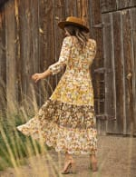 Chiffon Mixed Print Peasant Dress - Ivory/Gold - Back
