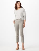 Stripe Ankle Pants with Button Pockets - Black/linen - Front