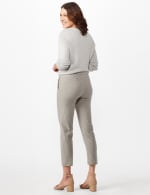 Stripe Ankle Pants with Button Pockets - Black/linen - Back