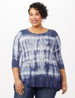 Tie Dye Hi-Lo Hem Knit Top - Plus - Navy - Front