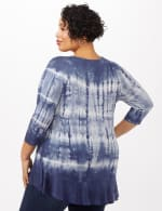 Tie Dye Hi-Lo Hem Knit Top - Plus - Navy - Back