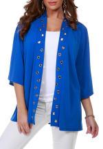 3/4 Sleeve Grommet Trimmed Cardigan - Misses - Cerulean Blue/Gold - Front