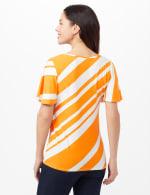 Flutter Sleeve Stripe Knit Top - Gold/White - Back