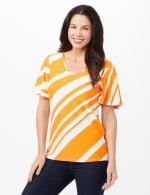 Flutter Sleeve Stripe Knit Top - Gold/White - Front