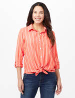 Roll Tab Striped Button Front Shirt - Coral - Front