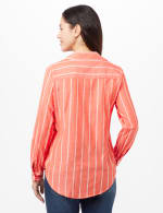 Roll Tab Striped Button Front Shirt - Coral - Back