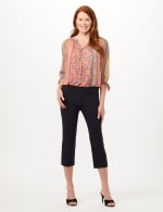 Pull-On Lace Trim Crop Pants - Oatmeal - Front