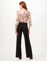 Knit Crepe High Rise Wide Leg Pants - Black - Back