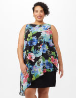 Asymmetrical Floral Chiffon Overlay Dress - Plus - Black - Front
