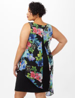 Asymmetrical Floral Chiffon Overlay Dress - Plus - Black - Back