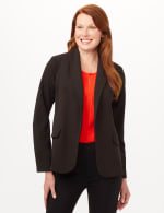 Shawl Collar Open Front Jacket - Black - Front