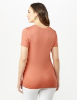 Twist Neck Side Knot Tee - Terra Cotta - Back