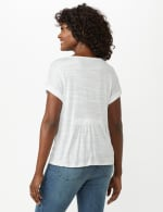 Button Front Texture Knit Top - White - Back