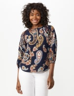 Crochet Trim Smock Paisley Texture Top - Navy/Peach - Front
