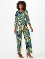 Paisley Tie Front Knit Top - Nautical Yellow/Green - Front