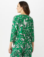 Floral Tie Front Knit Top - Bright Green - Back