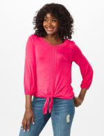 Crochet Trim Tie Front Knit Top - Maui Rose - Front