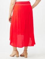 Textured Pull on Hi Lo Hem Skirt - Coralicious - Back
