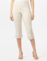 Pull On Crop Lace Hem Pants - Oatmeal - Front