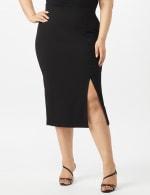 Scuba Crepe Side Slit Skirt With Button Trim Detail - Black - Front
