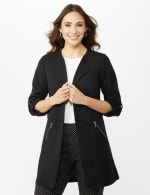 Open Front Cardigan Jacket with Zip Pkts and Roll Sleeve - Black - Front