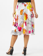 Printed Floral Skirt with All Around Elastic Waist and Tie - Red /Coral Rose - Back