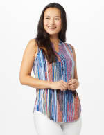 Multi Color Jaquard Pintuck Popover - Multi - Front
