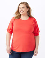 Scoop Puff Sleeve Knit Top - Coral - Front