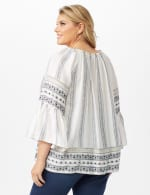 Westport Bell Sleeve Border Tunic - Plus - Ivory - Back