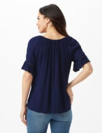 Smocked Crinkle Peasant Top-Petite - Navy - Back