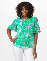 Floral Ruffle Sleeve Blouse - Green - Front